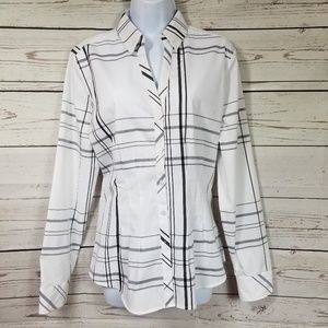 NY&CO 7TH AVENUE peplum button down blouse